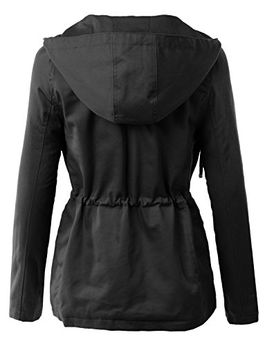 LE3NO Womens Military Anorak Safari Jacket with Pockets