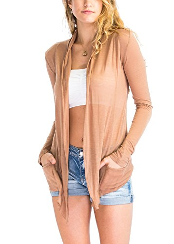 Luna Flower GCDW041 Women's Long Sleeve Casual Lighweight Cardigan With an Open-Front Light_Mocha (Mocha Satin A-line)