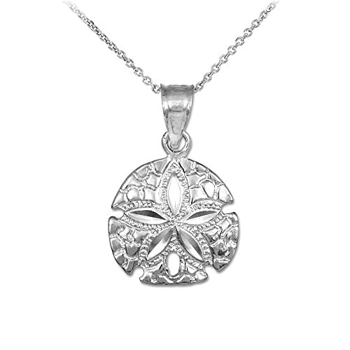 925 Sterling Silver Sea Star Sand Dollar Charm Pendant Necklace, 16""