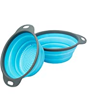 """Colander Set - 2 Collapsible Colanders (Strainers) Set by Comfify - Includes 2 Folding Strainers Sizes 8"""" - 2 Quart"""