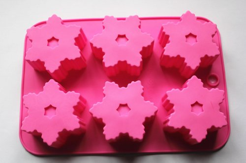 1-X-6-Cavity-Snowflake-Silicone-Cake-Chocolate-mold-Baking-Handmade-Soap-molds