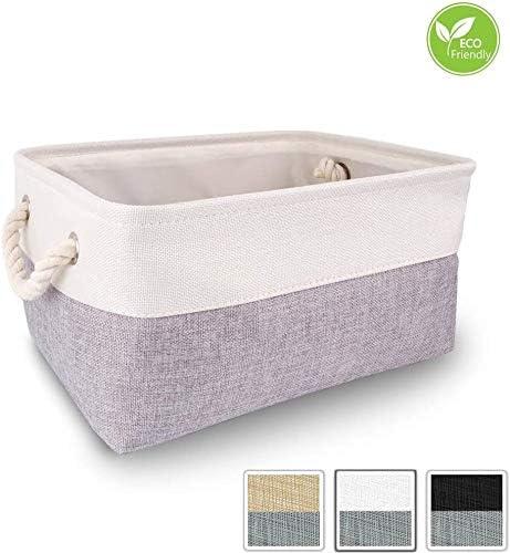 Mangata Caja de Almacenamiento Ropa, cestas de almacenaje Tela, Plegable Cajas organizadoras para Juguetes, armarios (Medio, Gris Blanco): Amazon.es: Hogar