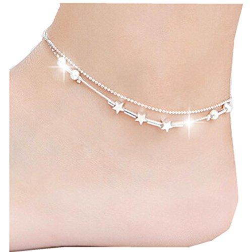 Lavany Little Star Women Chain Ankle Bracelet Barefoot Sandal Beach Foot Jewelry (Silver)