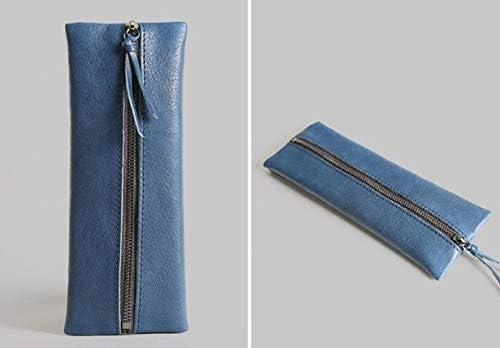 AWENJ Estuche de lápices Escolares de Cuero Genuino Vintage Penal para niñas niños Estuche de lápices Grande Bolso de Pluma de Vaca Kawaii Kit de Bolsa de Caja de papelería Azul: Amazon.es: