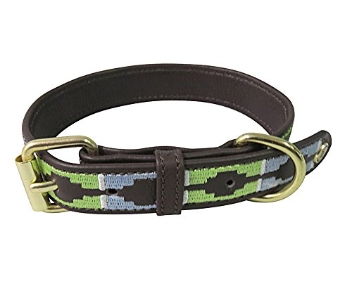 Halo Dog Collar -Leather with Cal Dog Collar | Color - Brown/Cashmere Blue/Lime Green, Size - X-Large