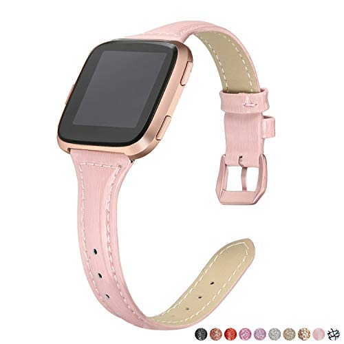 bayite Bands Compatible Fitbit Versa, Shiny Blush Pink, Glitter Slim Leather Band Replacement Strap Accessories Women (5.3