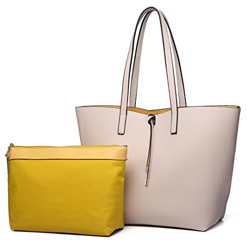 (Miss Lulu Women Reversible Tote Bag Faux Leather Shoulder Handbag with Liner Pouch Bag (6628 Beige))
