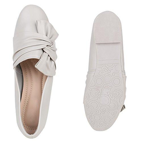 f1f7b8193a5884 ... Damen Slipper Loafers Schleifen Glitzer Flats Profilsohle Schuhe  Flandell Hellgrau