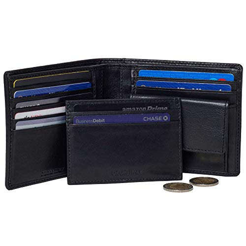 Leather Italy Fashion - Wallet by DiLoro Italy Genuine Full Grain Nappa Leather Pocket Wallets RFID Safe (Bifold, Black Nappa With Card Wallet)