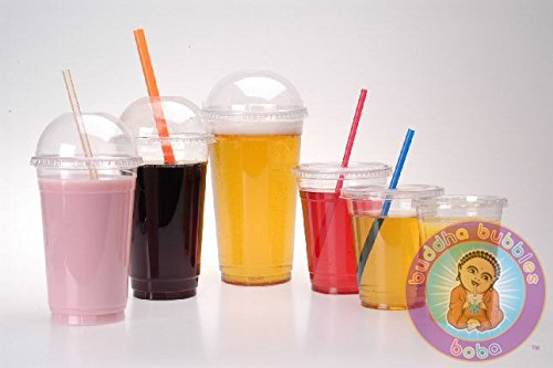 100 Clear PET Disposable to Go Cups with Dome Lids (20
