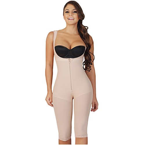 Salome 0520 Women Post Surgery Full Body Shaper With Zipper Shapewear Fajas Colombianas Reductoras Moldeadoras Completas Post-Operatorias Beige (Post Surgery Garments)
