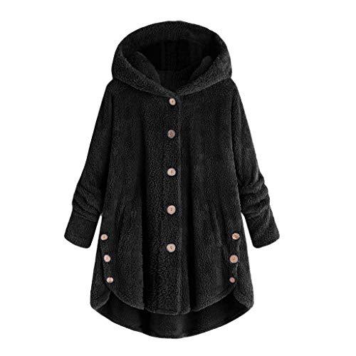 Women Jacket Winter Plus Size Women's Fashion Women Button Coat Fluffy Tail Tops Hooded Pullover Loose Sweater -