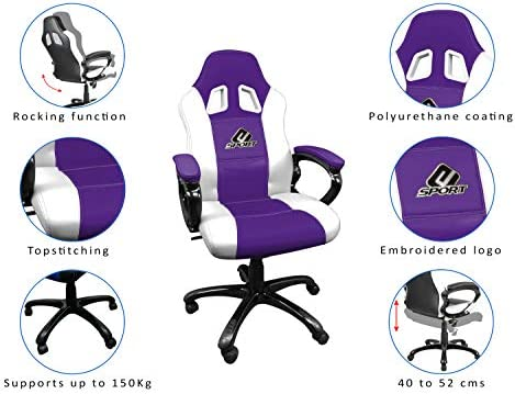 Fauteuil gamer avec assise ergonomique Chaise de bureau et de jeu pivotante Subsonic Siege gaming baquet ATM Atletico de Madrid