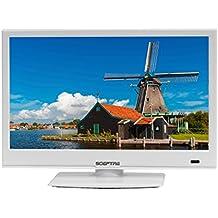 "Sceptre E165WV-SS Slim 16"" 720p LED HDTV HDMI USB VGA, DC 12V Car Adapter Included, Polar White (2017)"