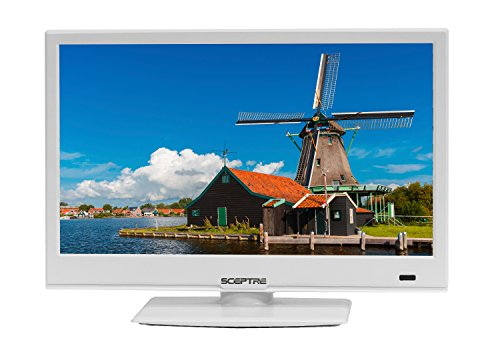 Sceptre E165WV-SS Slim 16″ 720p LED HDTV HDMI USB VGA, DC 12V Car Adapter Included, Polar White (2017)