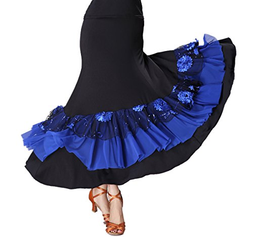 Whitewed Long Full Ballroom Smooth Flamenco Style Waltz Dance Skirts Costumes Halloween