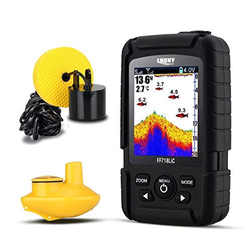 LLHH Fish Finder 100 Meter Tiefe Fishfinder Sonar Transducer 2-in-1 Kabelloser und drahtloser Sensor Tragbares 2,8-Zoll-HD-Display