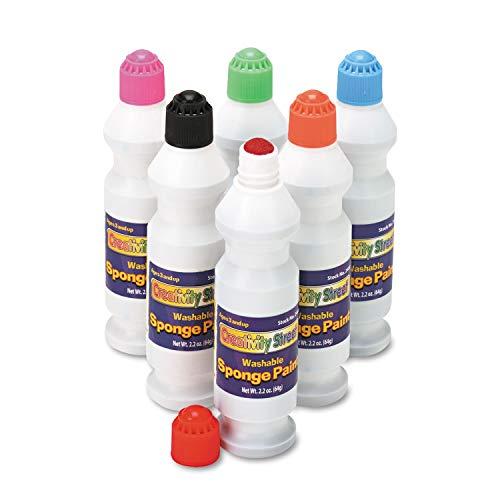 Creativity Street Sponge Paint Set, 6 Assorted Colors, 2.2 oz, 6/Set - 2400 (Pack of 2)