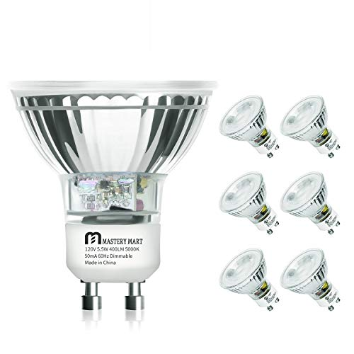 LED GU10 Spotlight Light Bulbs, 50 Watt Equivalent, 5.5W Dimmable, MR16 Full Glass Cover, 5000K Daylight, 25000 Hours, UL Listed, Energy Star Certified, by Mastery Mart (Pack of 6)