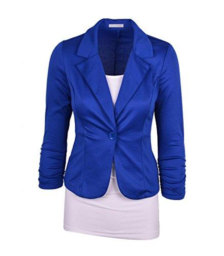 [Auliné Collection Women's Casual Work Solid Color Knit Blazer Royal Blue Large] (Blue Spandex Suit)