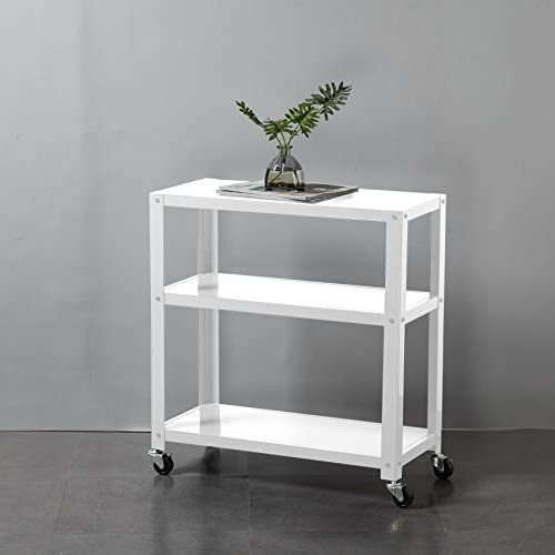 Urban Shop 3 Shelf Metal Storage Decorative Rolling Rack Cart with Smooth Locking Wheels, White