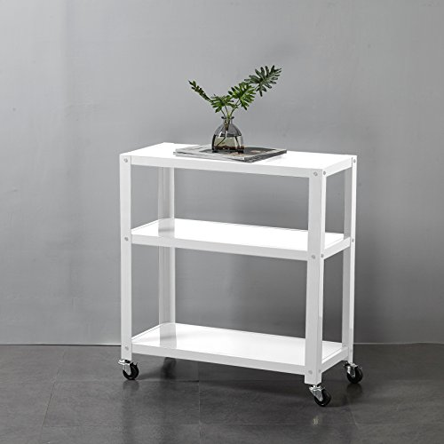 Urban Shop 3 Shelf Metal Storage/Decorative Rolling Rack Cart with Smooth Locking Wheels, White (White Rolling Cart Metal)