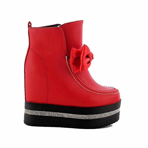 AllhqFashion Mujeres Sólido Plataforma Cuña Puntera Redonda Caña Baja Botas con Moño Rojo