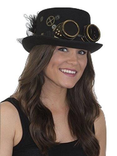 Jacobson Hat Company Women's Felt Steampunk Top Hat 1, Black, Adjustable