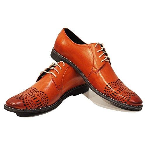 PeppeShoes Modello Orione - Cuero Italiano Hecho A Mano Hombre Piel Naranja Zapatos Vestir Oxfords - Cuero Cuero Repujado - Encaje