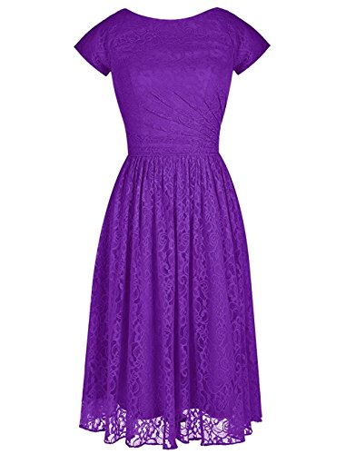 VaniaDress Women Short Sleeve Lace Bridesmaid Dress Prom Gown V103LF Purple US6
