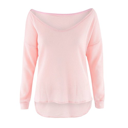 Printemps Sweater Femmes Mode Sweat Tops Sexy Longues Pulls Shirts Blouse Automne Chandail Tricots Tunique Casual Oblique Manches Rose paule Pullover Jumper Hauts rq6nrwxCE