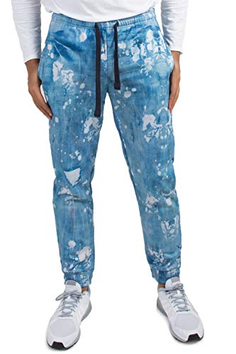 Vibes Men's Fleece Jogger Sweatpants Painter Distressed Denim Printed Elastic Cuff Size S ()