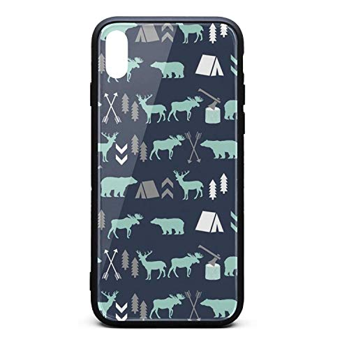 - Forest Bear Moose Arrow Deer Teepee Printing iPhone X Case Plate and Soft TPU/Shock Proof/Anti-Finger Double Protection Phone Back Case Cover for iPhone X