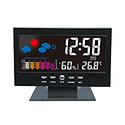 Hasowell Multifunctional Alarm Clock Thermometer Indoor Colorful LCD Digital Temperature Humidity Meter Weather Station Forecast with Date Snooze/Charging Cable Digital Alarm Clock 5.5 by