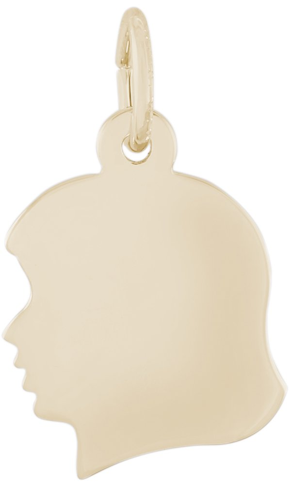 Rembrandt Charms, Small Girl Silhouette, 14K Yellow Gold, Engravable