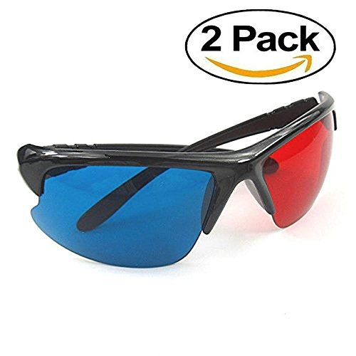 HULISEN 2Pcs 3D Vision Glasses Red Blue Plasma TV Movie Dimensional Anaglyph Half-frame
