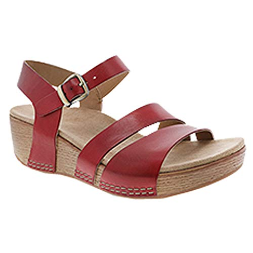 Calfskin Shoes Womens Casual - Dansko New Women's Lindsay Ankle Strap Sandal Red Burnished Calf 37