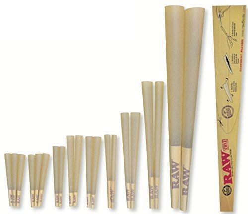 RAW Classic Natural Unrefined 20-Stage Rawket Launcher - 20 Cone Variety Pack (1 Pack) by RAW