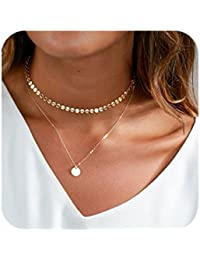 Layered Coin Choker Necklace For Women Gold Tone