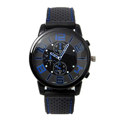 (Dozenla Men Sports Watch Quartz Analogue Dial Soft Silicone Band Alloy Shell (Dark Blue))