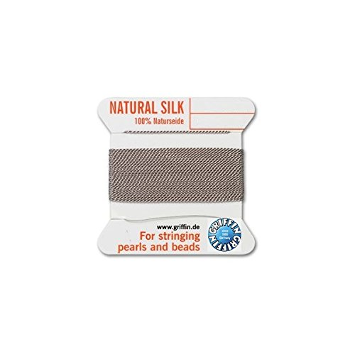 - Griffin natural silk thread for stringing pearls and beads Size #4 Grey