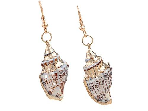 Golden Brown Earring (Alilang Golden Tone Nautical Brown White Ocean Sea Conch Shell Fish Hook Earrings)