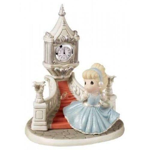 Precious Moments, Birthday Gift, Disney Ltd Ed Cinderella Running Down Steps With Glass Slipper/Clock Figurine, Porcelain Bisque, 153015 ()