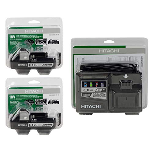 Hitachi UC18YSL3 18V Li-Ion Rapid Battery Charger & (2) BSL1830C (#339782) 18V 3.0Ah Batteries (In Retail Packaging)