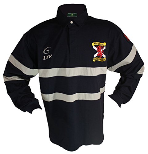 Silky Sullivan Collection Mens Tartan Terror Scotland Long Sleeve Rugby Jersey Navy Blue
