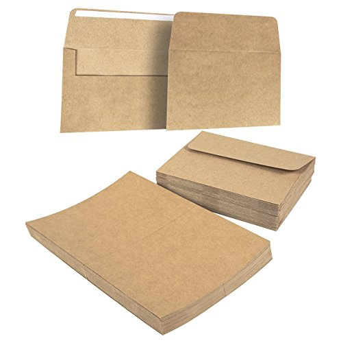 50-Piece Brown Kraft A7 Envelopes and 50-Sheet Half-Fold Greeting Card Paper - 5.25 x 7.25 Inch Square Flap Envelopes - 5 x 7 Inch Greeting Card Paper