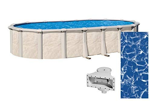 Lake Effect Forever 18 Foot by 33 Foot Oval Above Ground Swimming Pools | 54 Inch Height | Resin Protected Steel Sided Walls | Bundle with Sunlight 25 Gauge Overlap Liner & Widemouth Skimmer