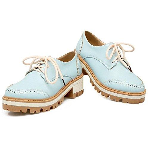TAOFFEN Chaussures à lacets à la mode pour femme Bleu