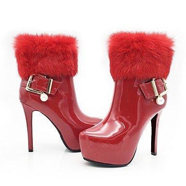 Heart&M Mujer Zapatos Cuero Patentado Otoño Invierno Botas de Moda Botas hasta el Tobillo Forro de pelusa Botas Tacón Stiletto Plataforma Dedo gold