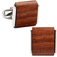 VIILOCK Men's Natural Handmade Rosewood Cufflink Handcrafted Wooden Square Cuff Links with Gift Bag